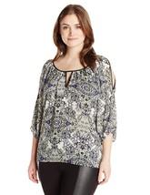 Single Dress Women's Plus Size Print Cut Out Blouse, Blue/Multi, 2X - $37.20