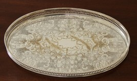 Pretty Vintage Silver Plated Oval Gallery Tray by Viners of Sheffield - $20.63
