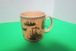 Russ Berrie Coffee Tea Mug Vintage Ships Theme Ceramic Made In Indonesia - $11.00