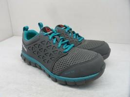 Reebok Work Women's Sublite Safety Cushion Work Shoes RB045 Grey/Blue Size 6M - $85.49
