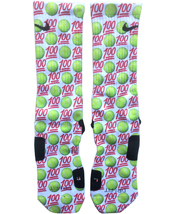 Custom Tennis Emoji Nike Elite Socks ALL Sizes FAST SHIPPING - $23.99