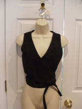 NWT  Newport News Stylework black suede fully lined wrap  vest top sz 10 - $73.51