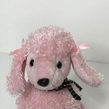 TY Brigitte Pink Poodle Beanie Plush Stuffed Animal 2001 Metallic Bow No... - $14.85