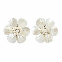 Pretty White Mother of Pearl Flower Clip On Earrings - $33.53