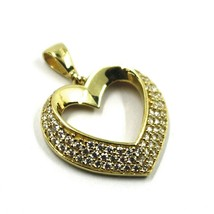 SOLID 18K YELLOW GOLD PENDANT HEART WITH CUBIC ZIRCONIA, 16mm, 0.63 inches image 1