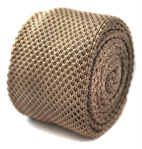 Frederick Thomas Knitted Silk Mens Tie - Beige / Tan - Plain Wedding Nec... - $16.49