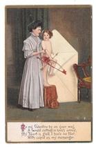 Valentine Pretty Woman Cupid Bow Arrow in Envelope Julius Bien Embossed Postcard - $7.99
