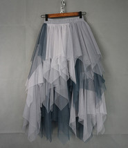 Tiered Elastic High Waist Tulle Skirt Women's Hi-lo Layered Holiday Formal Skirt image 11