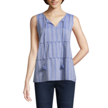 St. John's Bay Women's Dobby Tank Top Size Large Blue Texture Tie Front NEW - $22.76