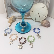 6 Piece Wine Glass Charm Set with fish, shell, seahorse, dolphin, starfish - $16.99