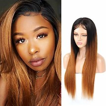 RACILY 1B 30 Ombre Straight Human Hair Wigs 1 Piece, Lace Front Black Ro... - $83.79