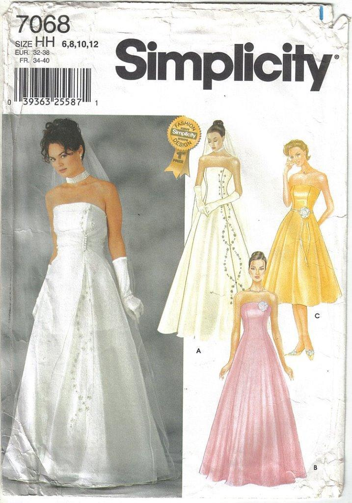 Primary image for Simplicity Pattern 7068 Wedding Bridesmaid Evening Gown Misses Szs 6 - 12 Uncut