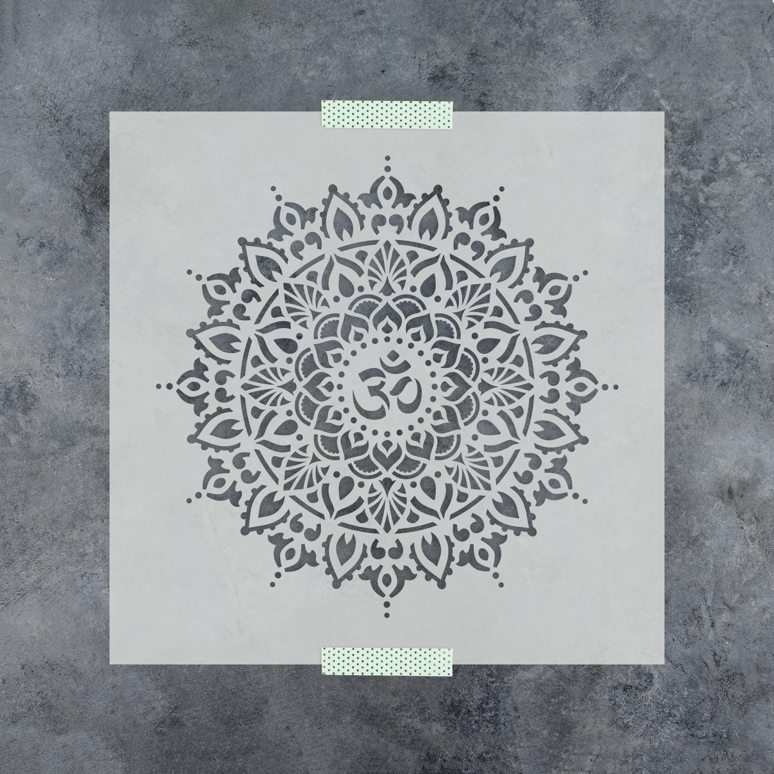 Om Mandala Stencil - Durable & Reusable Wall Stencils