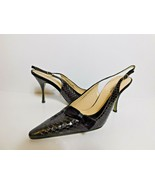 DOLCE & GABBANA CROC EMBOSSED LEATHER SLINGBACK SHOES SIZE 39 NEW  - $395.99