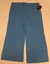 Ashley Junior Casual Capri Linen Pants Sz L Ocean Blue image 5