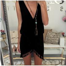 Beach Cover Up Deep V-neck Bikini Cover Ups Swimwear Women Bathing Suit black - $18.99