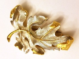 Silver Tone Large Leaf with Gold Tone Accents Pin Brooch - $11.39