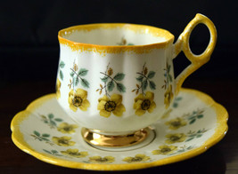 ROSINA Yellow Daffodils Tea Cup Set Vintage 1950's Rosina English Bone C... - $27.95