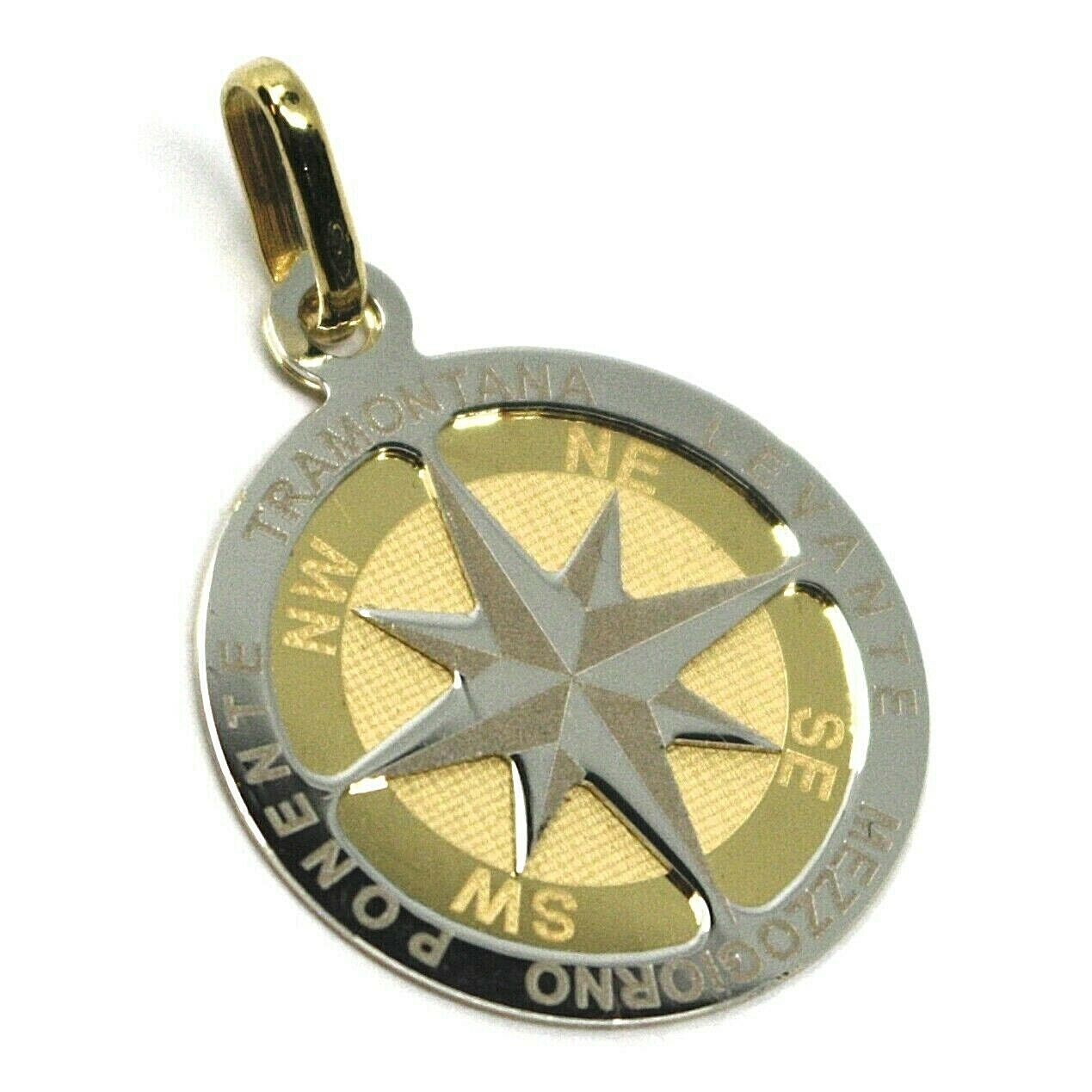 "18K YELLOW WHITE GOLD COMPASS WIND ROSE PENDANT, DIAMETER 2 CM, 0.8"", 2 FACES"