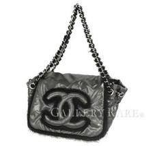 CHANEL Chain Shoulder Bag Nylon Fabric Gray Black A49697 Italy Authentic... - $1,278.48