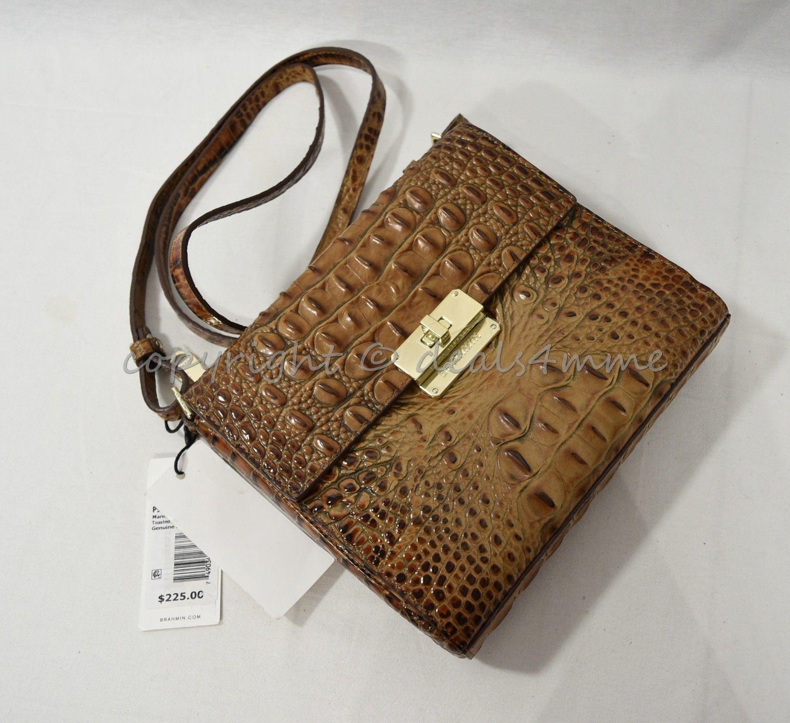 NWT Brahmin Manhattan Leather Shoulder/Crossbody Bag in Toasted Almond Melbourne