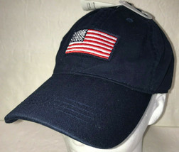 Old Navy American Flag Mens Hat Baseball Cap Embroidered Patriotic New NWT - $17.63