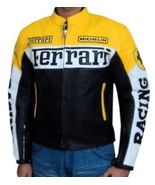 Black and Yellow Color Ferrari Motorcycle Biker Leather Jacket with Safety Pads - $159.99