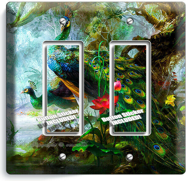 WHIMSICAL PEACOCKS FEATHERS LIGHT SWITCH 2GFCI WALL PLATE BEDROOM ROOM ART DECOR