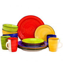 Gibson Home Color Vibes 16 Piece Round Dinnerware Set, Assorted Colors - $74.20