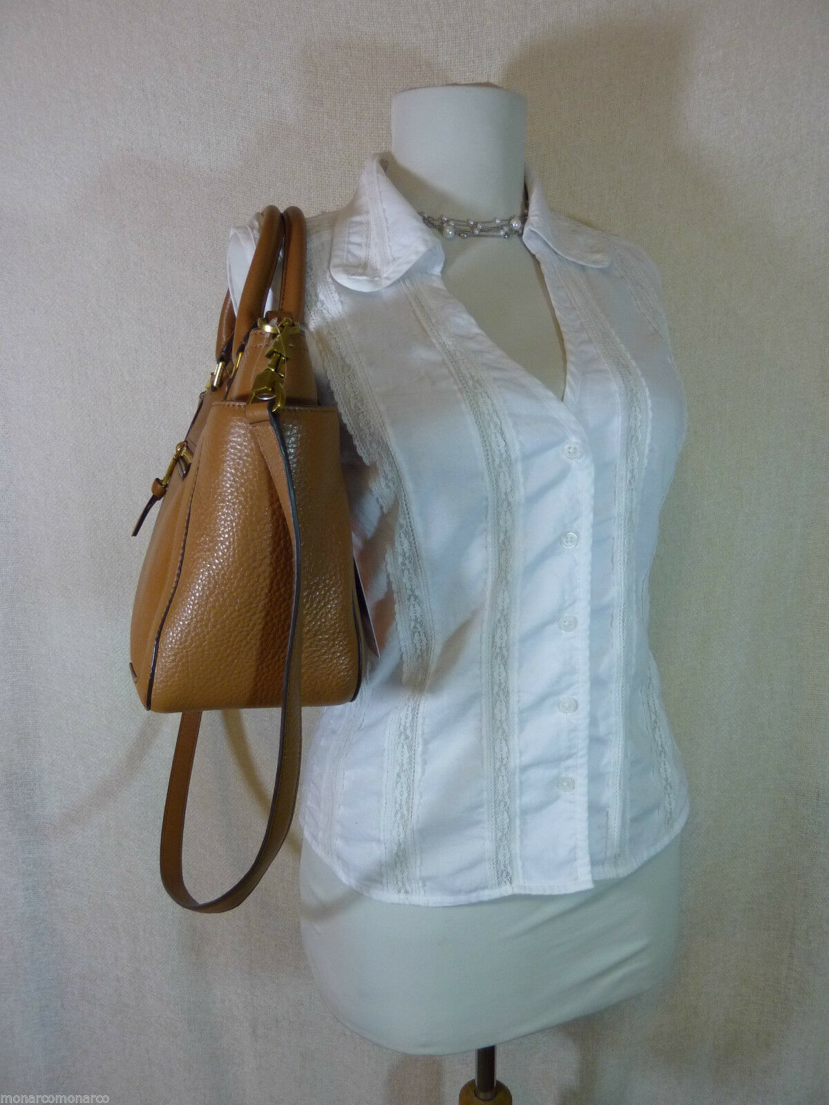 NWT Tory Burch Bark Brown Leather Small Frances Tote/Cross Body Bag