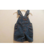 OVERALL SHORTS H.W.CARTER & SONS DENIM 3-6 MOS-SNAPS IN CROTCH-BABY-INFANT- - $2.69