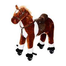 Qaba Kids Plush Ride On Toy Walking Horse with Wheels and Realistic Soun... - $99.94