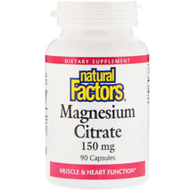 Natural Factors Magnesium Citrate Muscle Spasms 150mg x90 Support Brain ... - $36.62