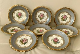 Aynsley 7913 Gray Rim Gold Trim & Pink Rose 8 Saucers by G. Bentley - $197.01