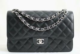 Chanel Black Caviar Leather Classic Jumbo Double Flap Bag w/SHW Authenticated - $5,237.03