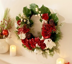 """22"""" Hydrangea, Rose and Magnolia Crescent Wreath by Valerie in Red  @BC5 - $193.99"""
