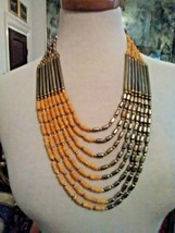 VINTAGE 8 ROW MULTI STRAND NECKLACE DULL GOLDEN FINISH & YELLOW COLOR BEADS - $20.00