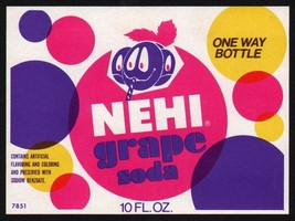 Vintage soda pop bottle label NEHI GRAPE faces pictured unused new old s... - $7.99