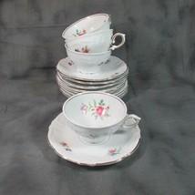 Vintage Winterling Bavaria 4 Cups & 9 Saucers Meissen Gardens (?) - $18.69