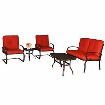 5 PC Cushion Outdoor Furniture Garden Patio Wrought Iron Dining Conversa... - $369.99