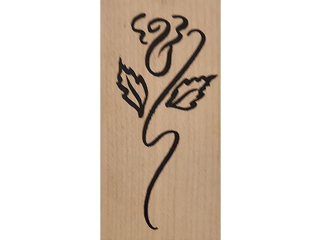 Denami Design 2002 Stylized Flower Wood Mounted Rubber Stamp
