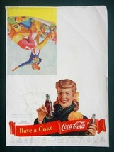 1950s vintage ORIG. COCA COLA COKE FOOTBALL POSTER w/SCORE uniform girl ... - $42.50