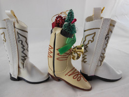 """Vinyl Cowboy Boots 3.5"""" White And Light Tan Christmas Ornaments - $11.87"""