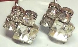 Screw Back Earrings Silver Tone Crystal Rhinestone Vintage - $12.82