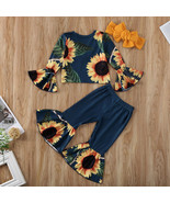 NWT Sunflower Girls Blue Bell Sleeve Bell Bottoms Outfit Set  - $10.99