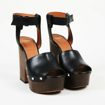 "Givenchy Leather Studded ""Sofia"" Wooden Platform Sandals SZ 37 - $235.00"
