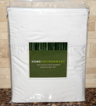 Home Environment * QUEEN SHEET SET * 100% Rayon From BAMBOO, White, NEW! - $124.98