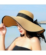 Summer Large Brim Straw Hat Floppy Wide Brim Sun Cap Bowknot Beach Folda... - $14.66