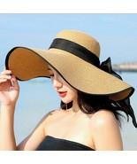 Summer Large Brim Straw Hat Floppy Wide Brim Sun Cap Bowknot Beach Folda... - $14.66