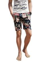 Fashion Black Print Flower Linen Short for Men, Ultra Thin, Medium